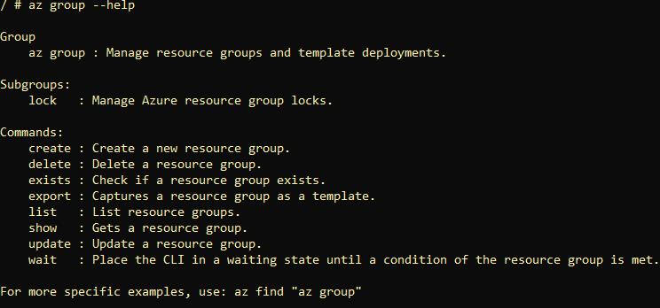 output of az group help