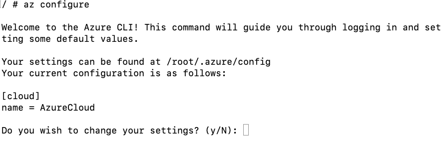 output from azconfigure