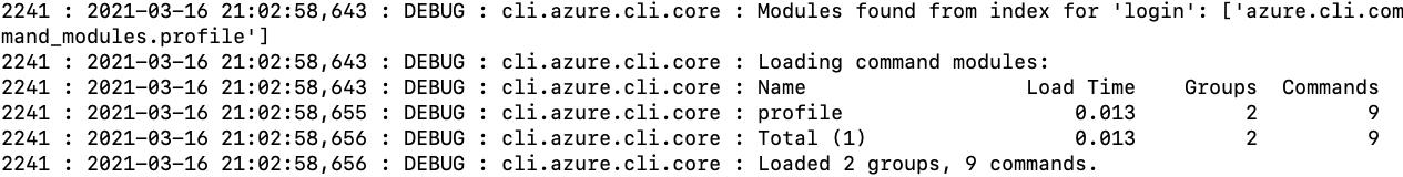 Log file contents after executing az login