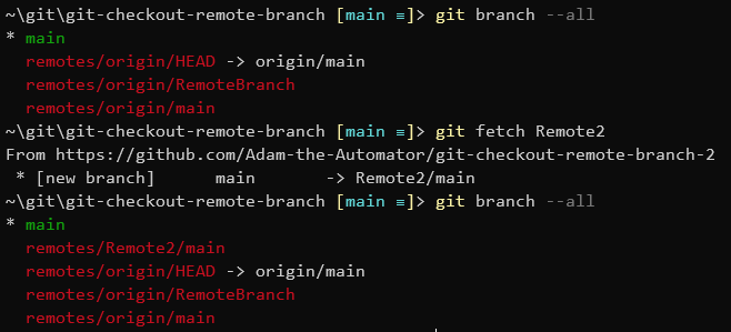 Fetching mainfrom remote2 with the git fetch command.