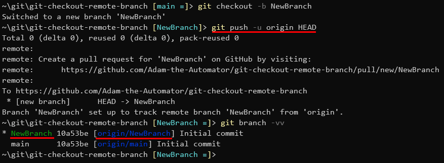 Pushing a local branch to a upstream remote named origin with the same name as local.