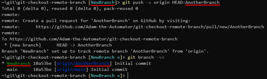 Pushing a local branch to a upstream remote named origin with an alternate remote branch name.