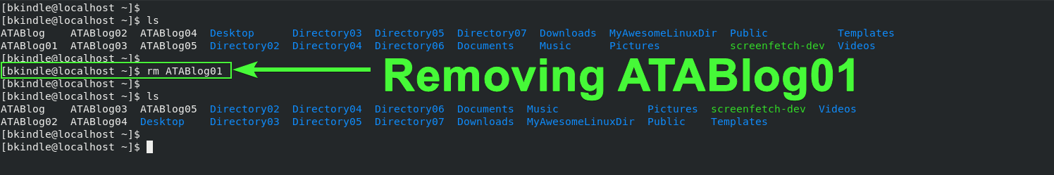 Removing a file in Linux.