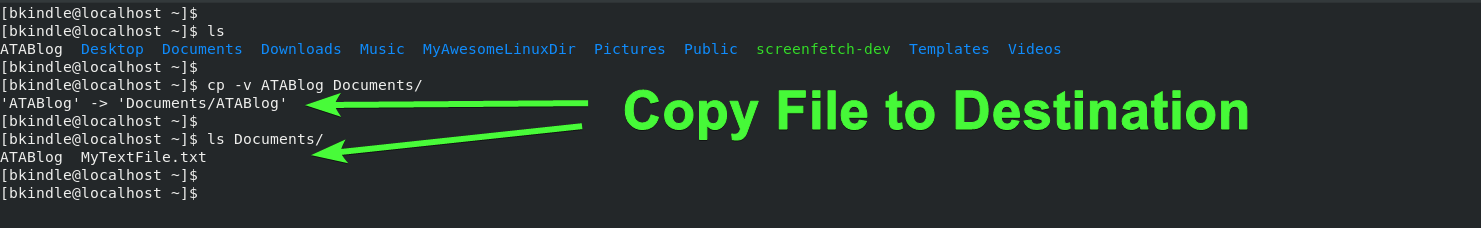 Copy a file in Linux with the cp command.