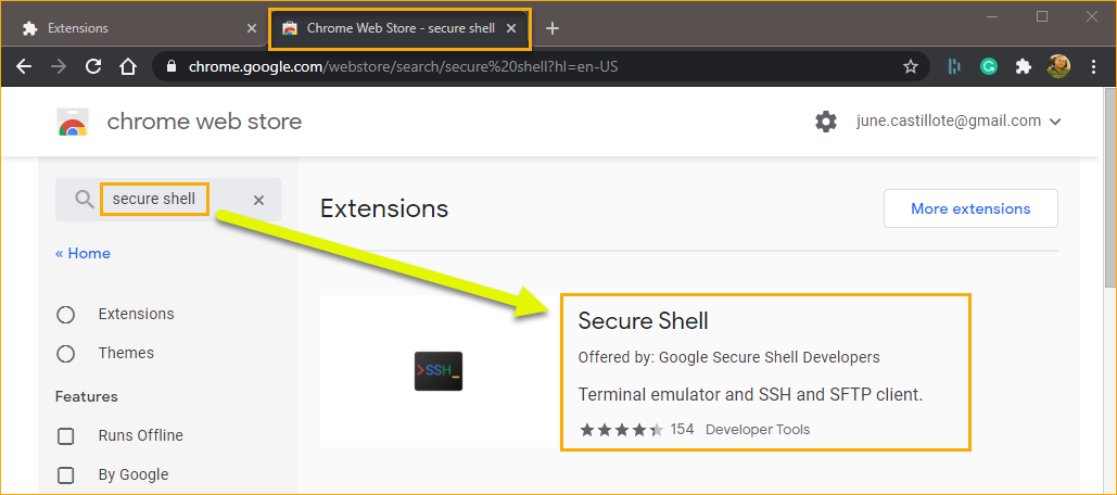Searching for the Secure Shell extension.