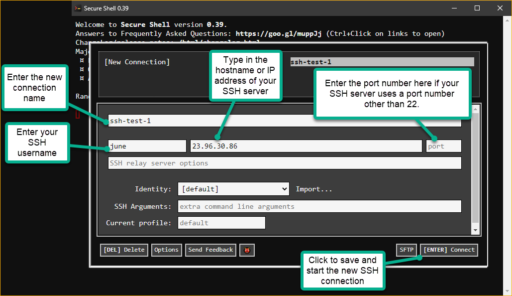 Creating and Connecting to a New SSH Connection.