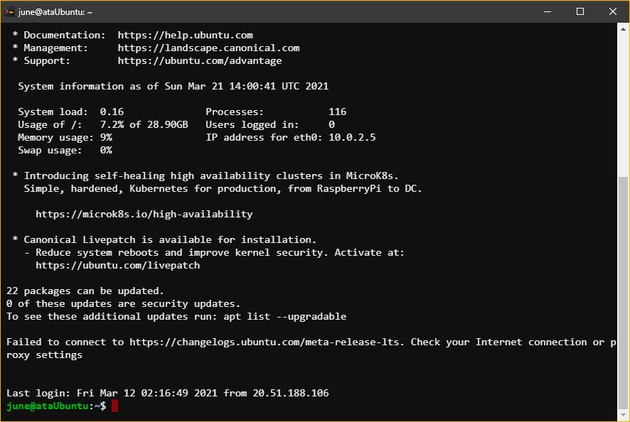 Logging in to the remote SSH server.
