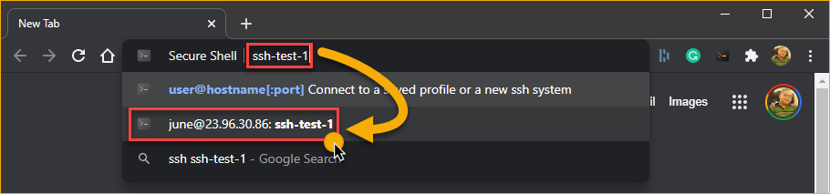 Selecting a previously saved connection.