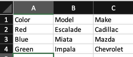 Example CSV of cars shown in Microsoft Excel