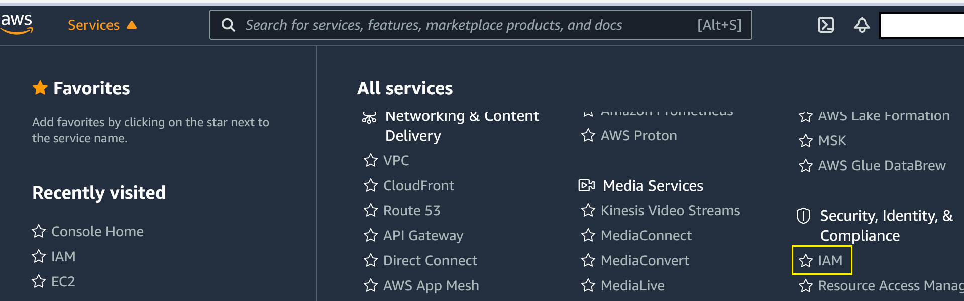 AWS Management Console showing services drop-down menu and IAM selection.