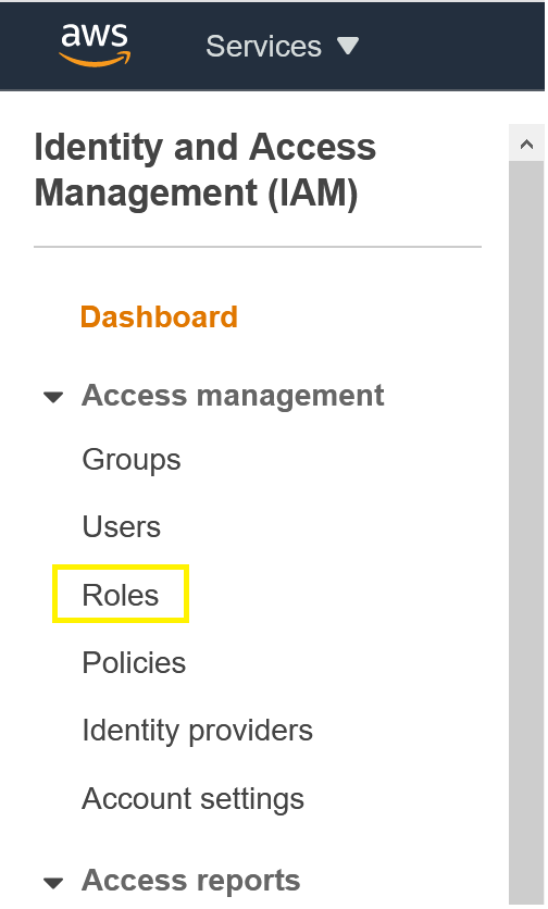 IAM console showing Roles selection.