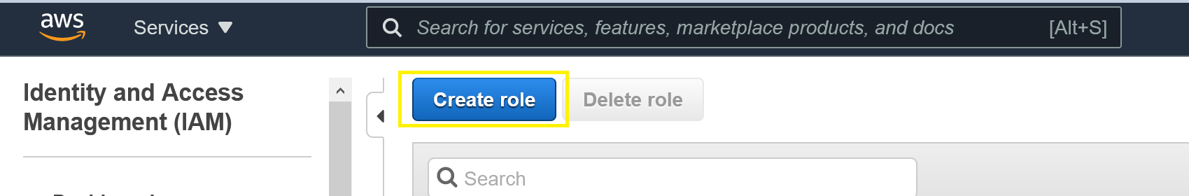 Roles section of the IAM console showing Create Role selection.