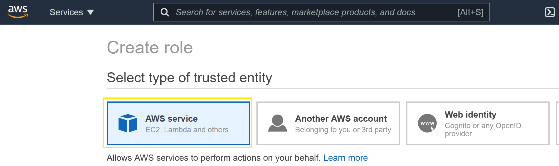 Create Role menu showing AWS Service selection.