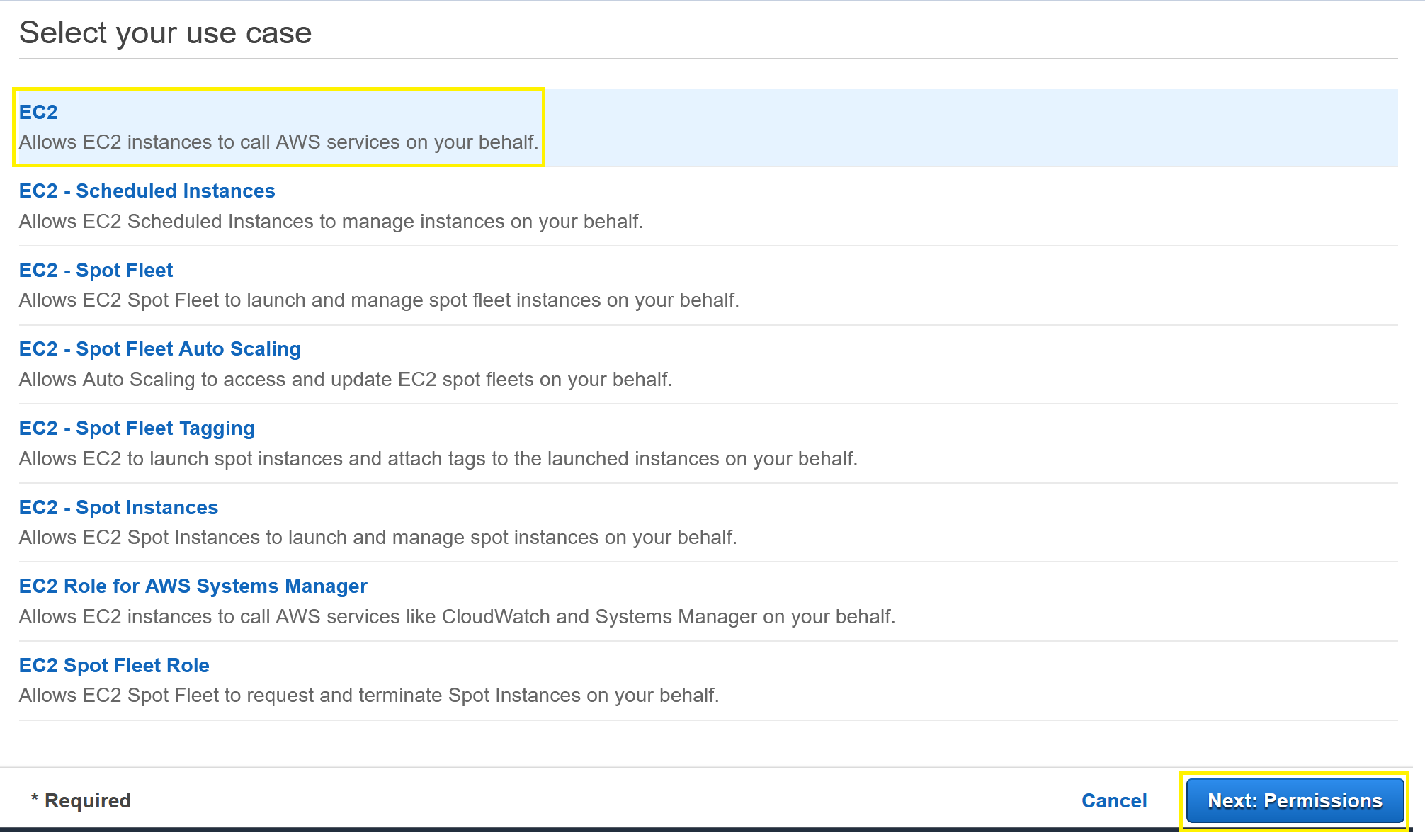 Create Role menu showing EC2 and Next: Permissions selections.