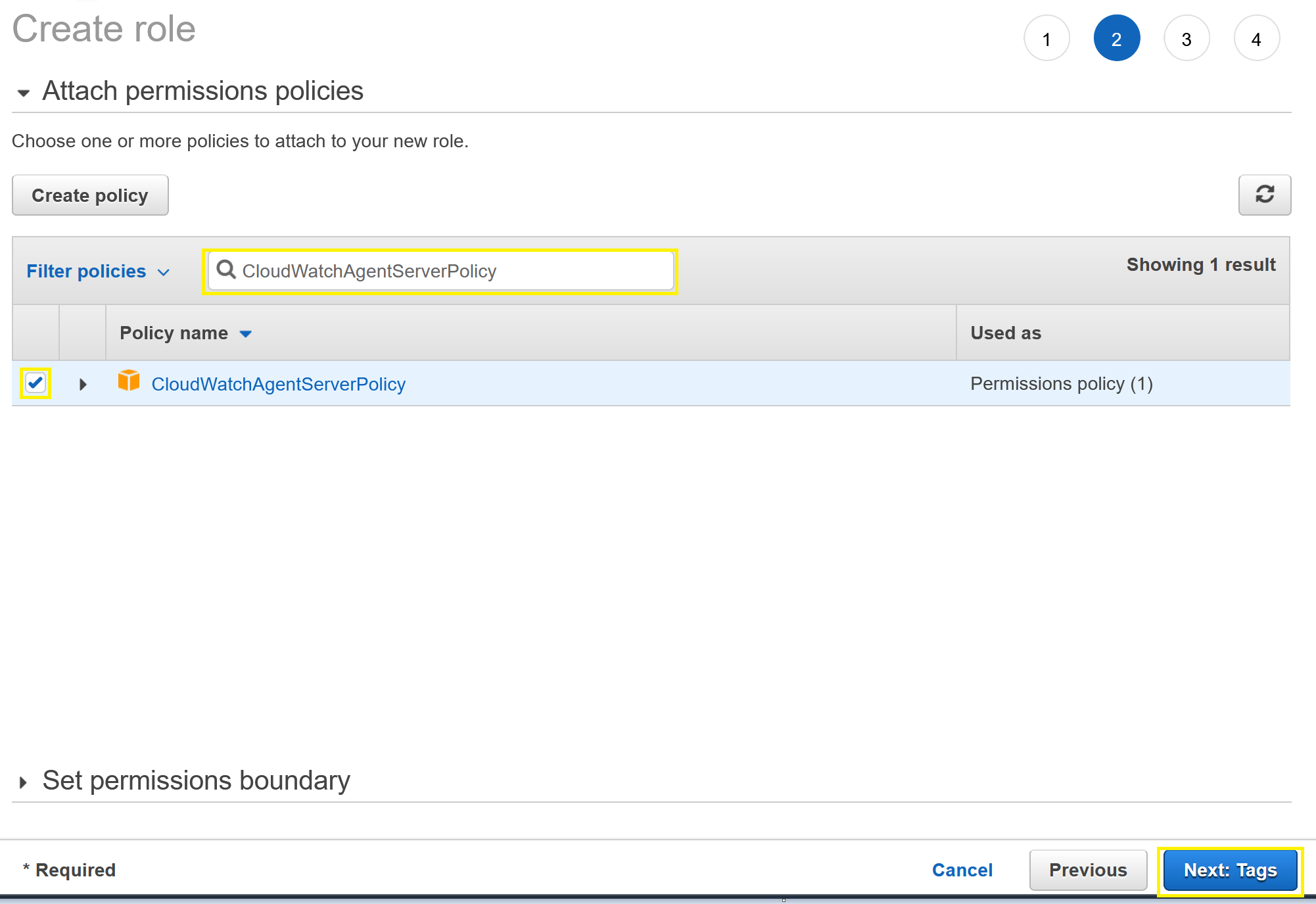 Attach permissions and policy menu showing CloudWatchAgentServerPolicy and Next: Tags selections.