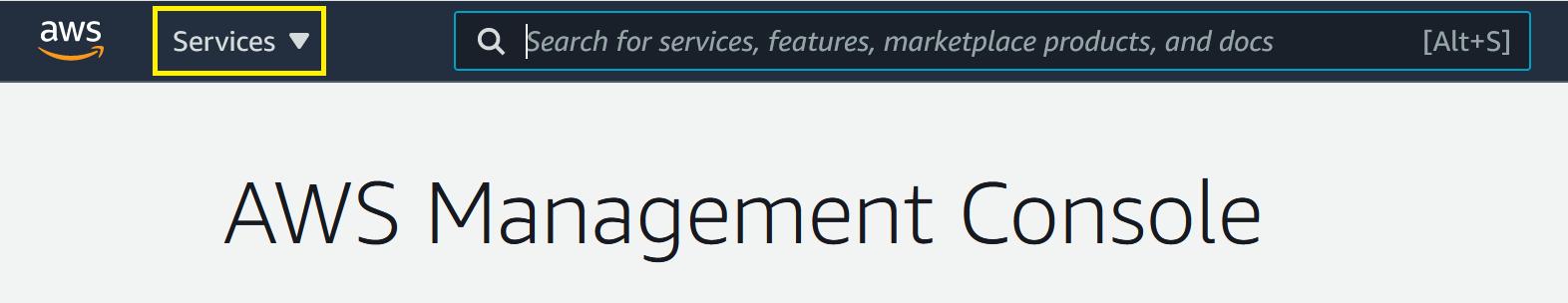 AWS Management Console showing services drop-down menu.