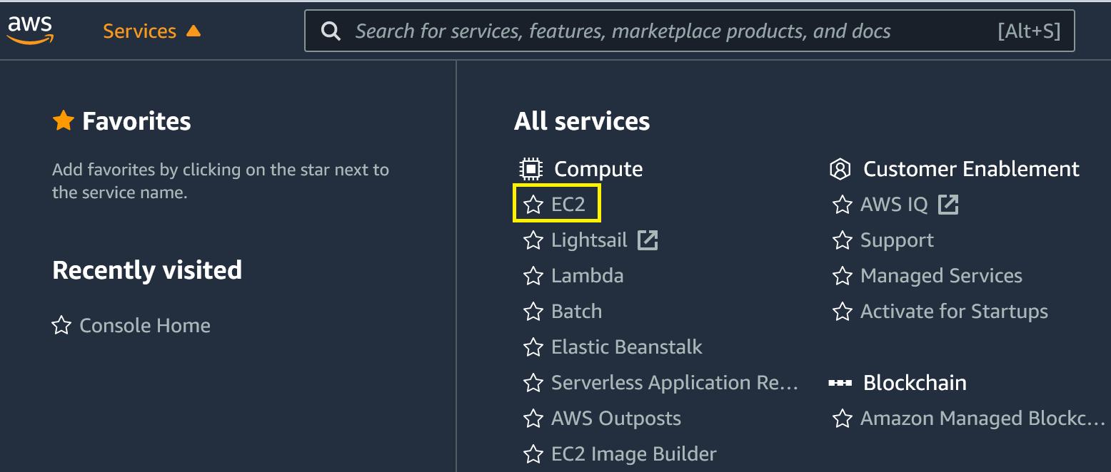 AWS Management Console showing services drop-down menu and EC2 selection.