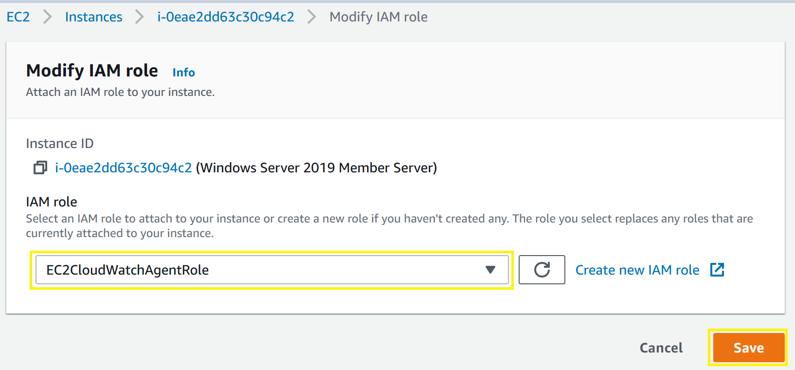 IAM Role Modification menu showing IAM Role and Save selections.