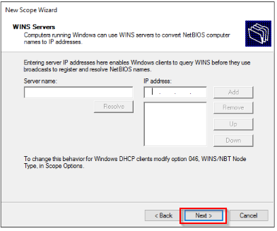 Add a WINS server to the DHCP scope options