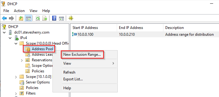 Add a new exclusion range to your DHCP address pool
