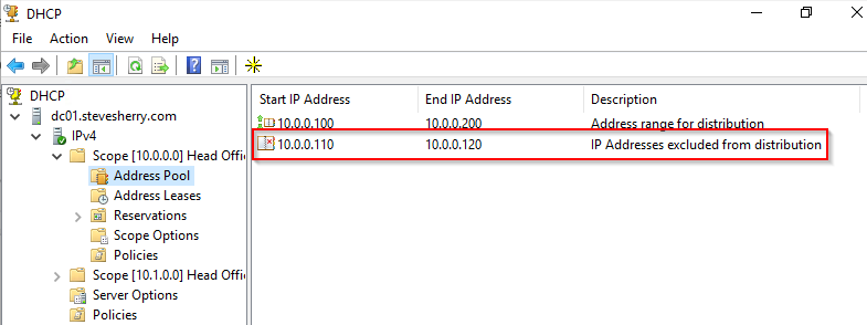 Confirm that the addresses are now excluded from the DHCP scope