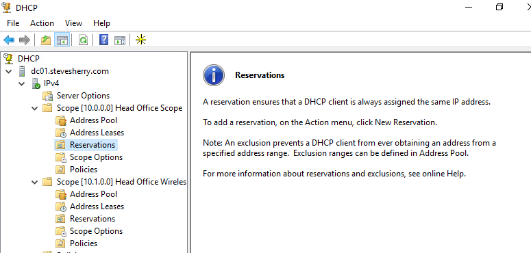 Managing DHCP Reservations