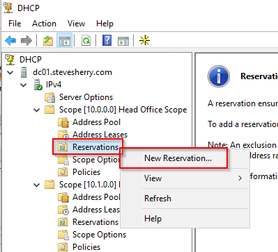 Creating a new DHCP Reservation