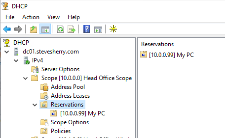 Review the New DHCP Reservation