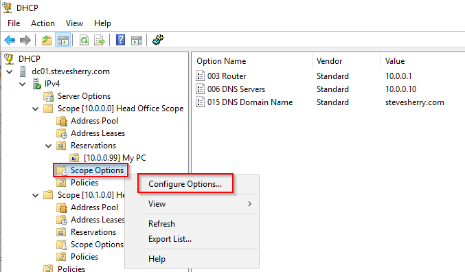 Configure a new DHCP Option