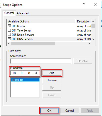 Add a new DNS Server to DHCP Options