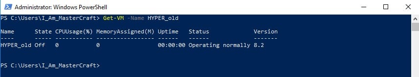 Output of Get-VM run with the -Name Parameter