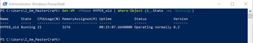 Output of Get-VM filtering out the VM with the state of Running