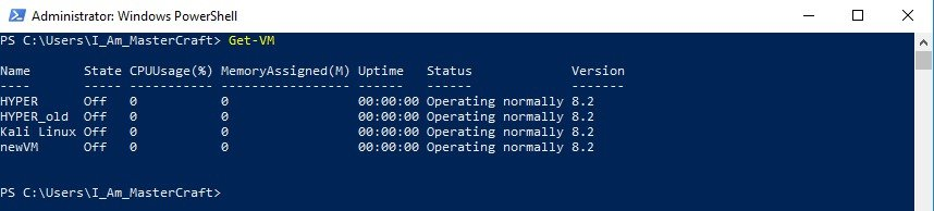 Output of Get-VM run with no Parameters