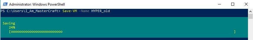 Save-VM cmdlet saving HYPER_old VM state.