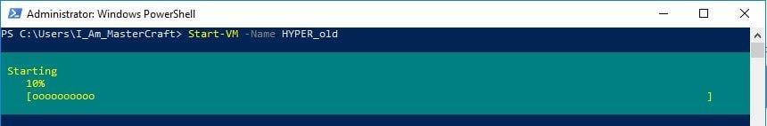 The Start-VM command starting the VM named HYPER_old