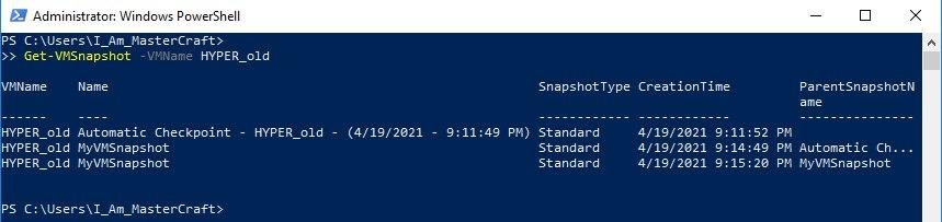 Retrieves all the Snapshots stored for HYPER_old VM
