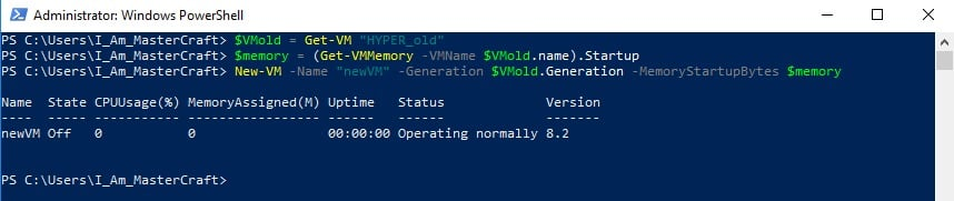 New VM created from Old existing VM