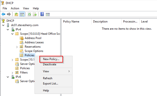 Create a new DHCP policy