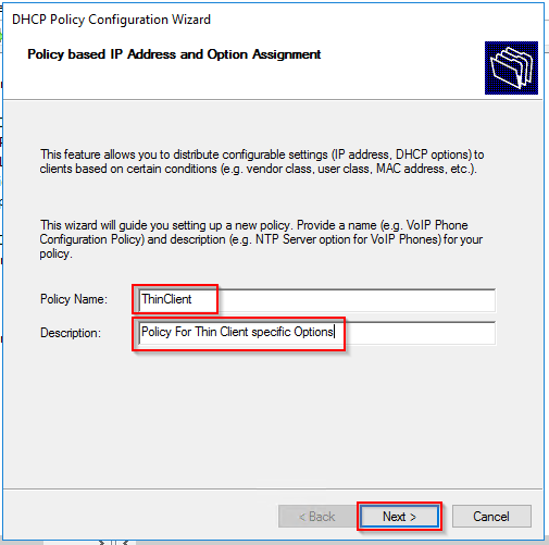 DHCP Policy creation wizard