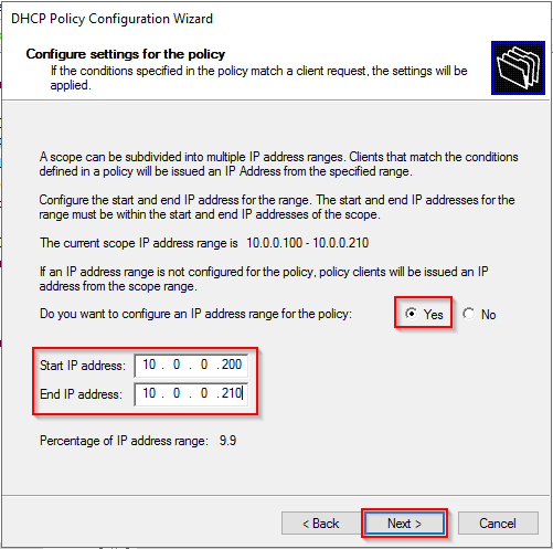Configure subset of IP addresses