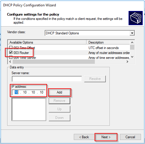 Configure settings for the policy