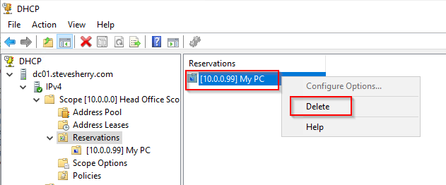 Removing a DHCP Reservation