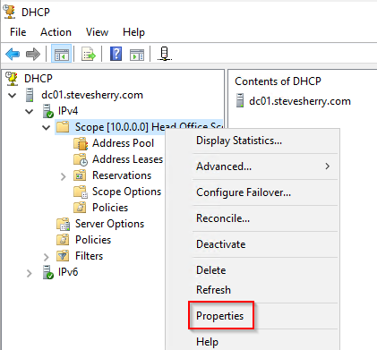 Display the properties of your DHCP Scope