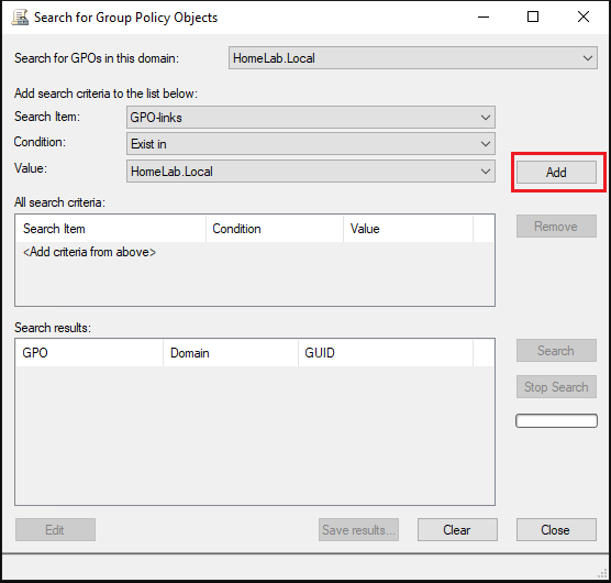 "Adding search item in ""Search for Group Policy Objects"" window"
