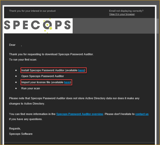 SpecOps Password Auditor welcome email