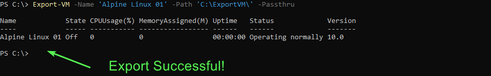 Successful export of an offline virtual machine.