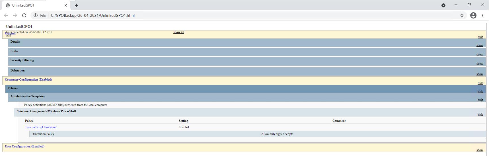 GPO HTML report