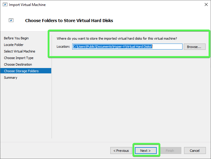 Import Virtual Machine Wizard