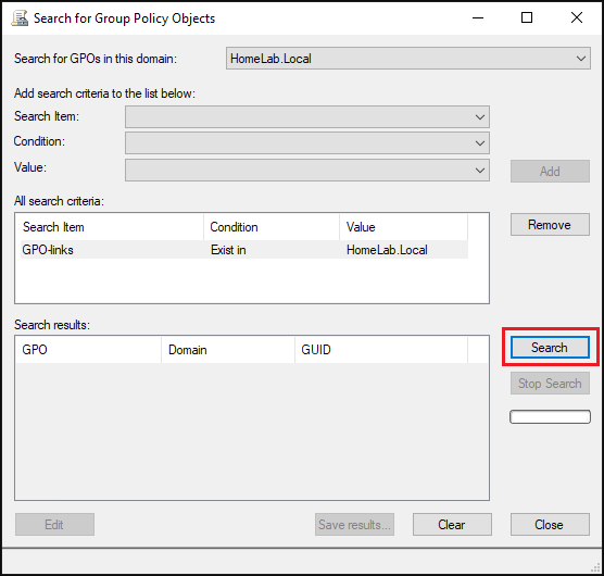"using search option in ""Search for Group Policy Objects"" window"