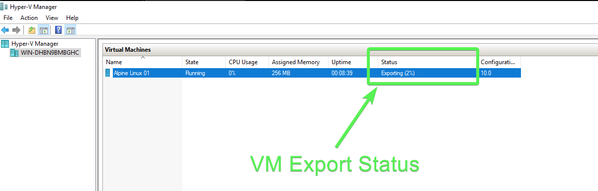 Export Status in Hyper-V Manager